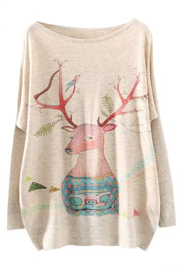 Womens Crewneck Batwing Sleeve Deer Printed Christmas Sweater Beige