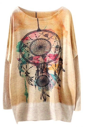 Womens Crewneck Batwing Sleeve Dreamcatcher Printed Sweater Yellow