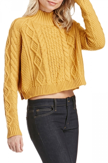 Womens Mock Neck Cable Knit Long Sleeve Sweater Yellow