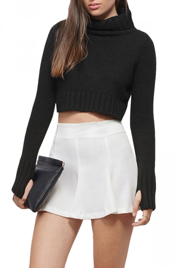 Womens Plain Turtleneck Long Sleeve Crop Top Sweater Black