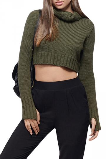 Womens Plain Turtleneck Long Sleeve Crop Top Sweater Green