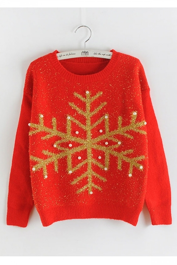 Womens Snowflake Round Neck Sequined Beaded Christmas Sweater Red