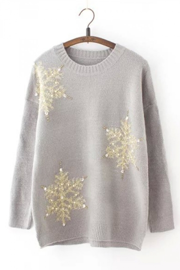 Womens Loose Sequined Beaded Pearl Knit Christmas Sweater Gray