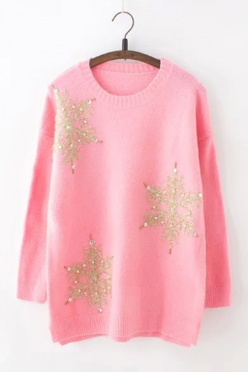 Womens Loose Sequined Beaded Pearl Knit Christmas Sweater Pink