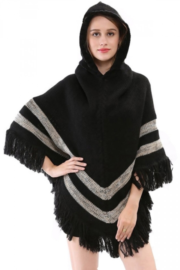 Womens Tassel Fringe Hooded Pullover Knitted Poncho Sweater Black