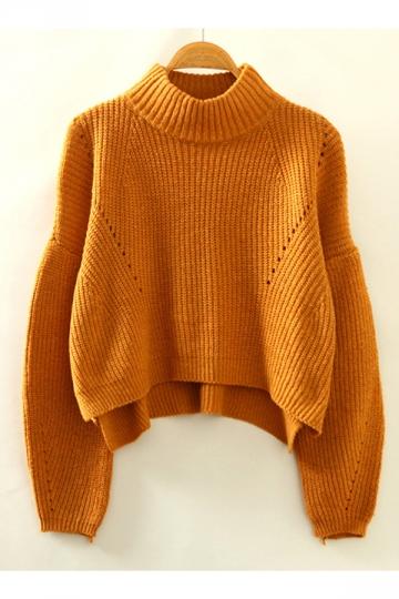 Womens Trendy High Low Split Side Lantern Sleeve Knitted Sweater Khaki