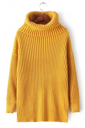Womens Plain Polo Neck Thick Pullover Knitted Sweater Yellow