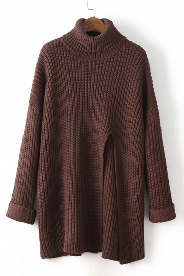 Womens Plain Polo Neck Thick Pullover Knitted Sweater Coffee
