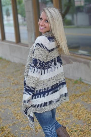 Womens Stylish Long Sleeve Knitted Irregular Cardigan Sweater Blue