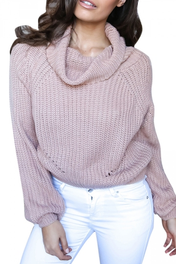 Womens Turtleneck Long Sleeve Knitted Pullover Crop Sweater Pink