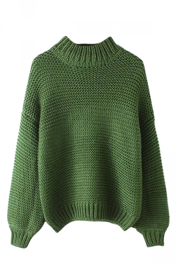Womens Plain Stand Collar Coarse Wool Knitted Pullover Sweater Green