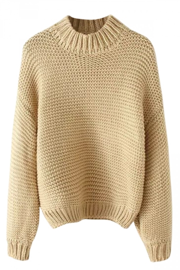 Womens Plain Stand Collar Coarse Wool Knitted Pullover Sweater Khaki