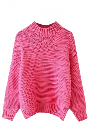 Womens Plain Stand Collar Coarse Wool Knit Pullover Sweater Rose Red