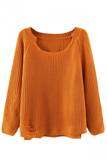 Womens Plain Scoop Neck Long Sleeve Pullover Ripped Sweater Yellow