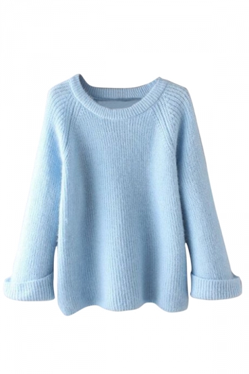 Womens Plain Round Neck Curling Raglan Sleeve Pullover Sweater Blue