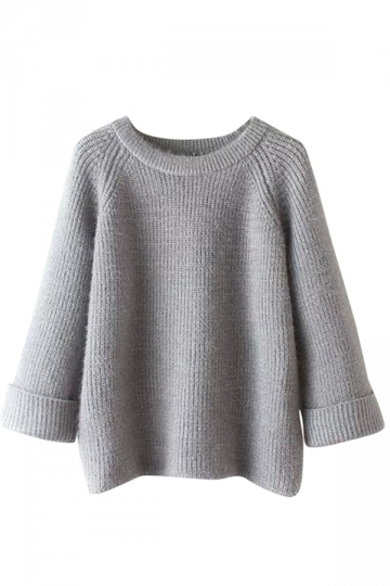 Womens Plain Round Neck Curling Raglan Sleeve Pullover Sweater Gray