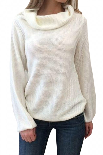 Womens Plain Cowl Neck Long Sleeve Pullover Sweater White
