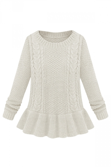 Womens Flared Hem Cable Knit Crewneck Pullover Sweater Beige White ...