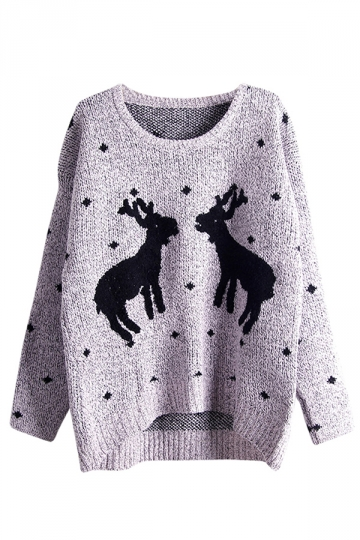 Womens Crewneck Two Reindeers Patterned Ugly Christmas Sweater Gray