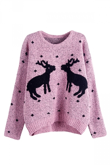 Womens Crewneck Two Reindeers Patterned Ugly Christmas Sweater Pink