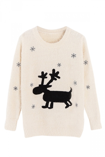 Womens Pullover Christmas Reindeer Patterned Long Sleeve Sweater White
