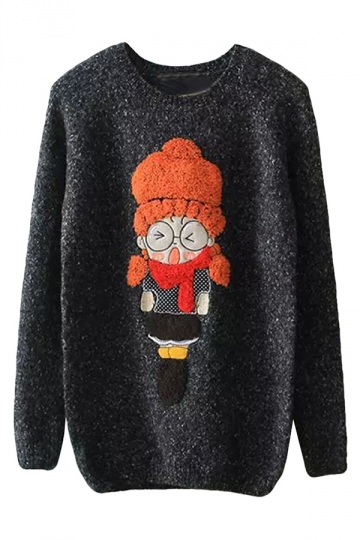Womens Round Neck Cartoon Girl Applique Pullover Sweater Black