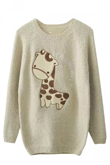Womens Raglan Sleeve Giraffe Applique Pullover Sweater Beige White