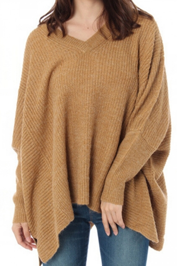 Womens Loose V-Neck Batwing Sleeve Mohair Pullover Sweater Brown