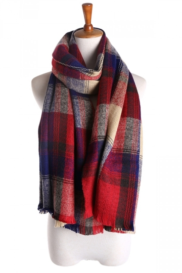Womens Double Side Plaid Thick Warm Cashmere Shawl Scarf Red