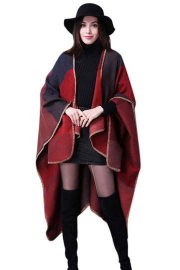 Womens Plaid Thick Warm Cashmere Scarf Slit Shawl Poncho Red