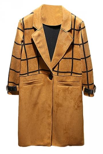 Womens Classic Turndown Collar Plaid Printing Trench Coat Khaki