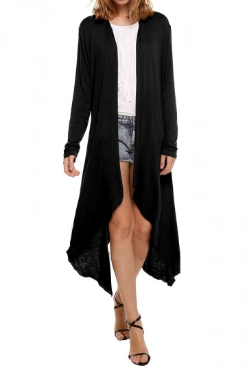 Womens Trendy Plain Long Sleeve Irregular Long Maxi Cardigan Black
