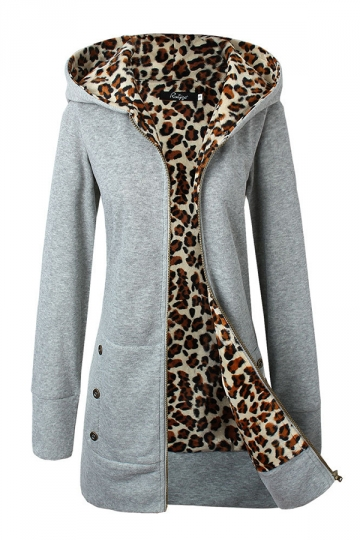 Womens Long Sleeve Hooded Zipper Pocket Thick Leopard Hoodie Gray
