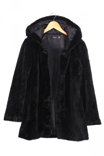 Womens Plain Loose Long Sleeve Hooded Faux Fur Coat Black