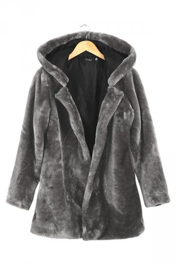 Womens Plain Loose Long Sleeve Hooded Faux Fur Coat Gray