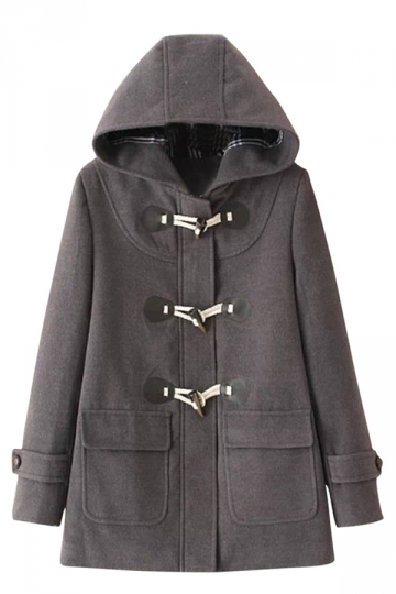 Womens Plain Horns Deduction Hooded Medium-long Woolen Coat Gray