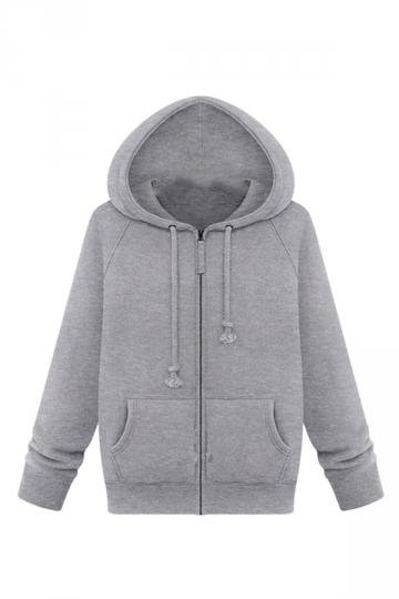 Womens Plain Plus Size Long Sleeve Zipper Pockets Fleeced Hoodie Gray