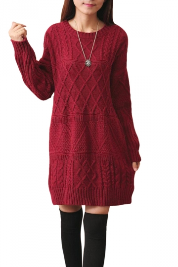 Womens Plain Round Neck Cable Knit Pullover Sweater Dress Ruby