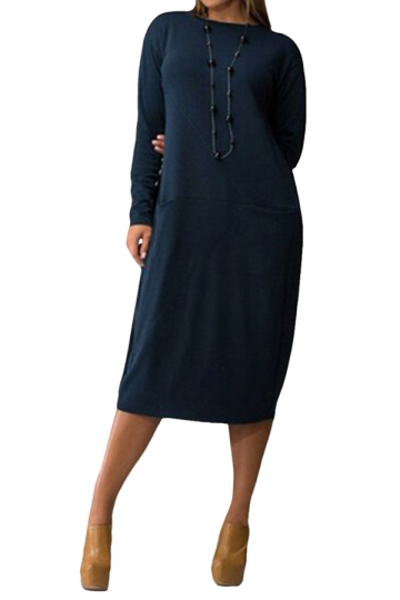 Womens Plain Round Neck Plus Size Long Sleeve Loose Dress ...