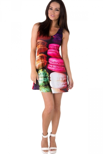 Womens Stylish Colored Macarons Digital Print Tank Dress Rose Red