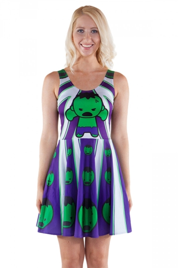 Womens Stylish Kawaii Hulk Digital Print Crew Neck Skater Dress Blue