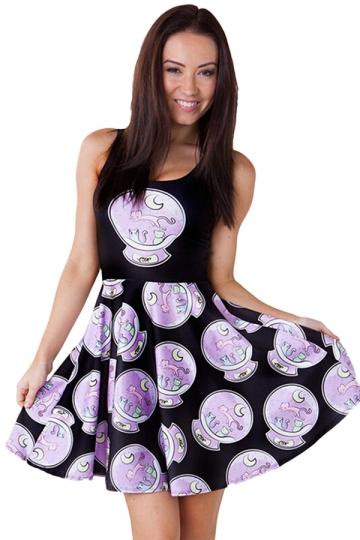Womens Stylish Galaxy Kitty Digital Print Crew Neck Skater Dress Black