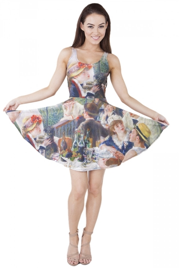 Womens Luncheon of the Boating Party Digital Print Skater Dress Green