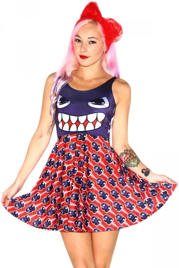 Womens Stylish Skull Digital Print Crew Neck Skater Dress Red