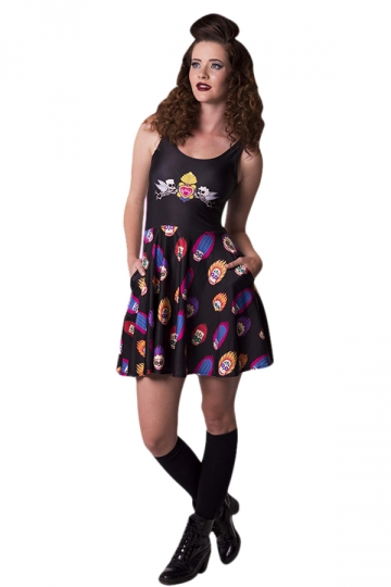 Womens Skull Angel Digital Print Crew Neck Skater Dress Black