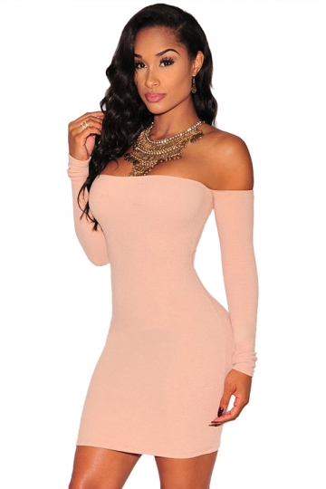 Womens Plain Off Shoulder Long Sleeve Sexy Bodycon Dress Pink