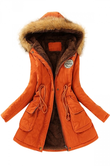 Womens Faux Fur Hooded Drawstring Thick Lined Parka Coat Orange ...