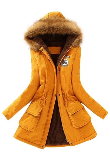 Womens Faux Fur Hooded Drawstring Thick Lined Parka Coat Yellow ...