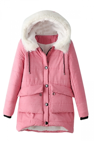 Womens Hooded Fur Collar Long Sleeve Pocket Cotton-padded Coat Pink