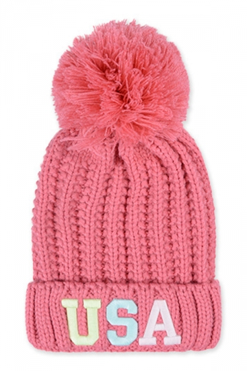Womens Warm Embroidery USA Logo Noctilucent Pom Pom Knit Hat Pink